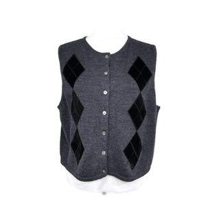 Eddie Bauer Womens XL Gray Black Argyle Sweater